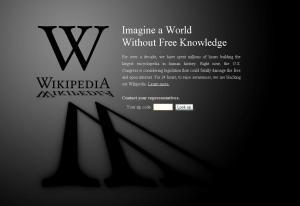 Portada de Wikipedia en Negro